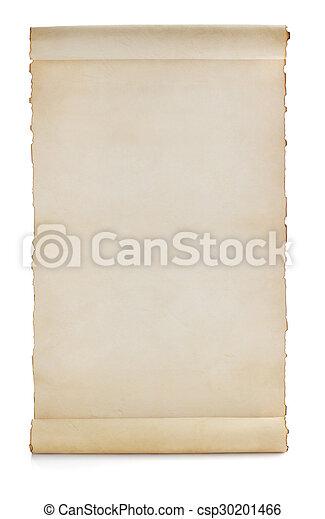 witte , boekrol, vrijstaand, perkament - csp30201466