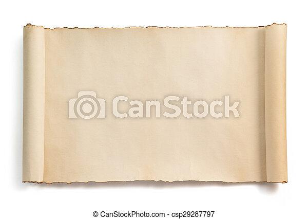witte , boekrol, vrijstaand, perkament - csp29287797