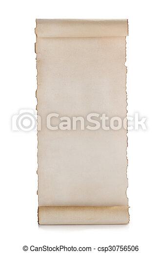 witte , boekrol, vrijstaand, perkament - csp30756506