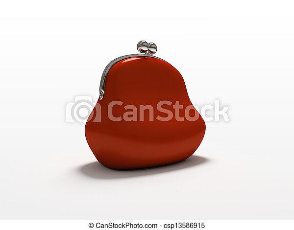 witte , buidel, vrijstaand, achtergrond, rood - csp13586915