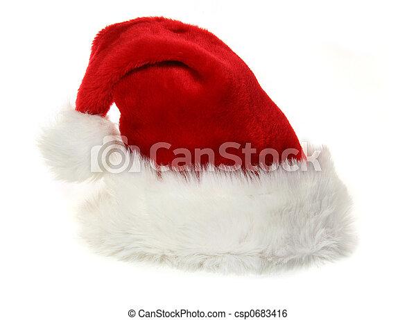 witte , claus, hoedje, kerstman - csp0683416