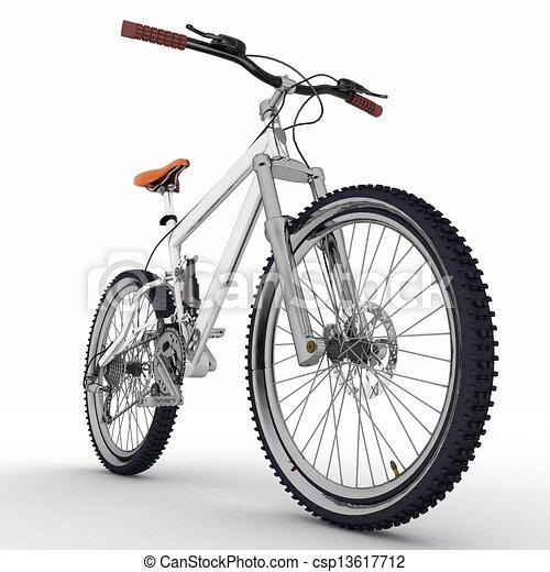 witte , fiets, vrijstaand, achtergrond - csp13617712