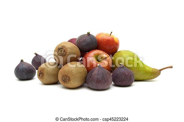 witte , fruit, achtergrond, vrijstaand, rijp - csp45223224