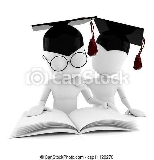 witte , man, vrijstaand, studerend , 3d - csp11120270