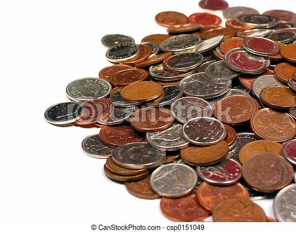 witte , muntjes, achtergrond, canadees - csp0151049