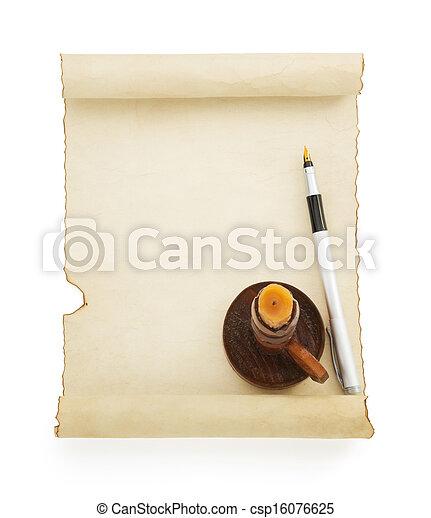 witte , perkament, boekrol - csp16076625