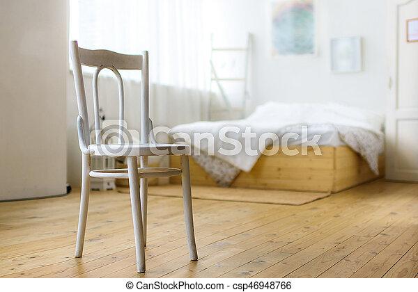 Witte , stoel, slaapkamer. Verf, muur, bed, slaapkamer, stoel, witte .