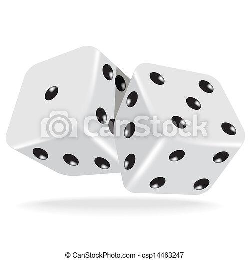 witte , twee, dobbelsteen - csp14463247