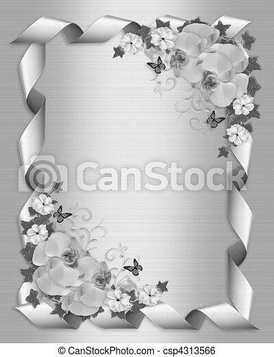witte , uitnodiging, trouwfeest, orchids - csp4313566