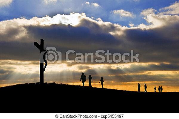 witth, marche, bon, silhouette, christ, gens, vendredi, haut, croix, vers, colline, crucifixion, jésus, paques - csp5455497