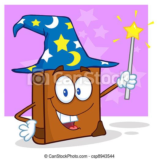 Wizard Book Cartoon Character - csp8943544