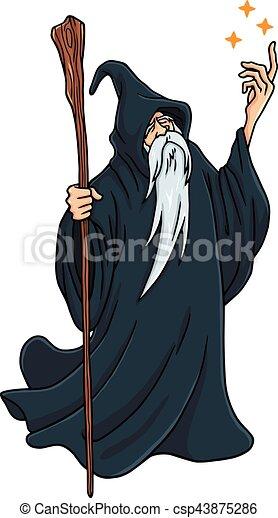 Wizard Cartoon Character Design Mascot Vector Illustration - csp43875286