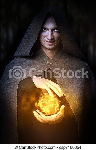 wizard, concept., fireball, dia das bruxas, macho - csp7186854