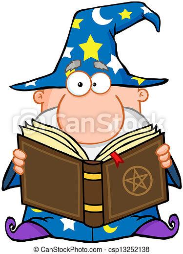 Wizard Holding A Magic Book - csp13252138