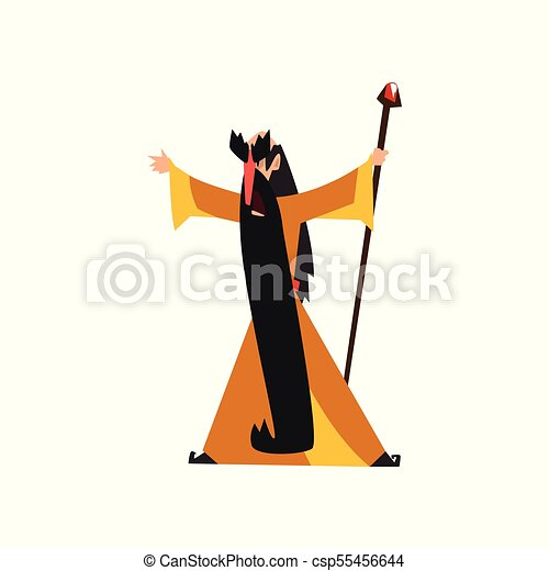 Wizard Holding A Magic Staff Fantasy Magical Character Vector