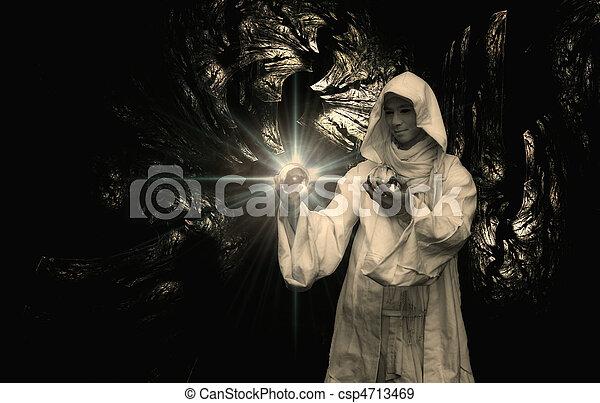 Wizard into a crystal ball  - csp4713469
