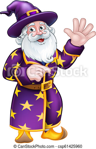 Wizard Pointing Cartoon Character - csp61425960