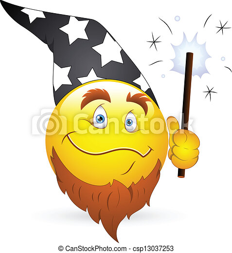 Wizard Smiley Face with Magic Wand - csp13037253