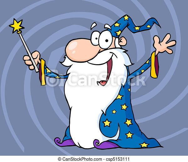 Wizard Waving A Magic Wand - csp5153111