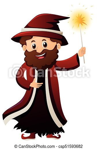 Wizard with magic wand - csp51593682