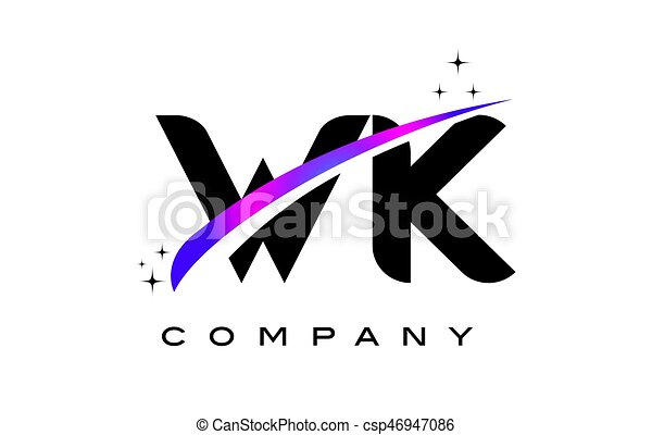 Wk W K Black Letter Logo Design With Purple Magenta Swoosh And Stars