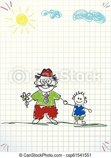 wnuk, granddad, razem, wektor, ilustracja, dzierżawa wręcza - csp61541551