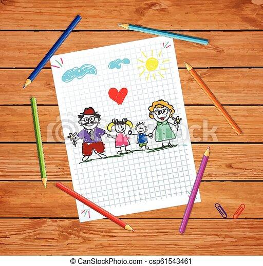 wnuki, barwny, dziadkowie, ilustracja, ręka, wektor, pociągnięty, dzieci - csp61543461