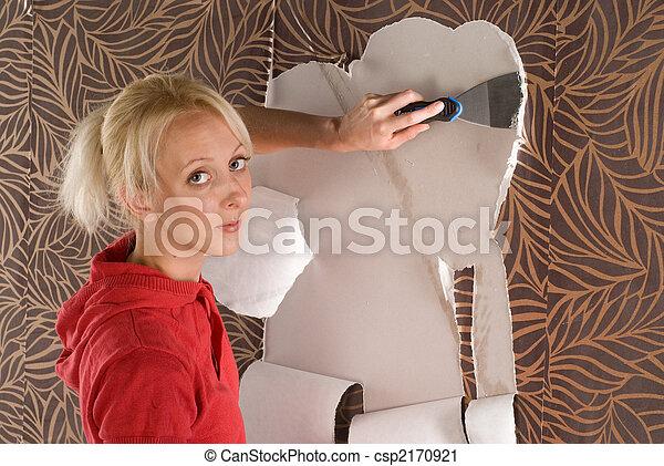 Woamn Stripping Wallpaper Female