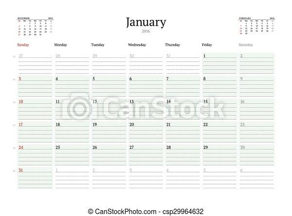 Woche, planer, monatlich, anfänge, january., sonntag,... Vektoren ...