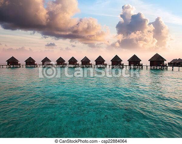 woda, domy, maldives., kupy - csp22884064