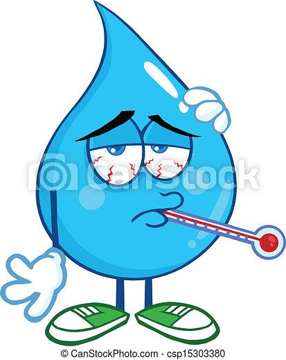 woda kapią, chory, termometr - csp15303380