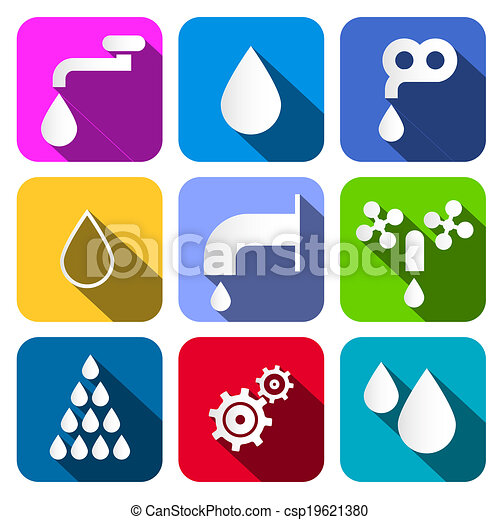 woda, komplet, barwny, ikony, -, symbolika, wektor - csp19621380
