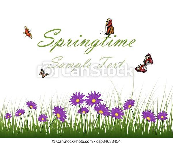 woda, kwiat, trawa, powierzchnia - csp34633454