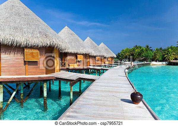 woda, ocean., wyspa, willa, kupy - csp7955721