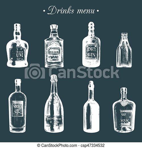 Wodka, tequila, flaschen, gin, alkoholische getränke, drinks., hand ...