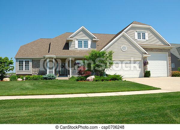 wohnhaeuser, amerikanische , upscale, haus - csp0706248