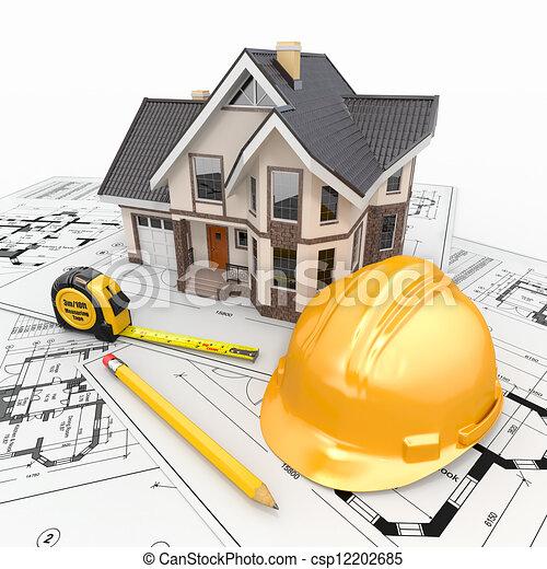 wohnhaeuser, architekt, blueprints., werkzeuge, haus - csp12202685