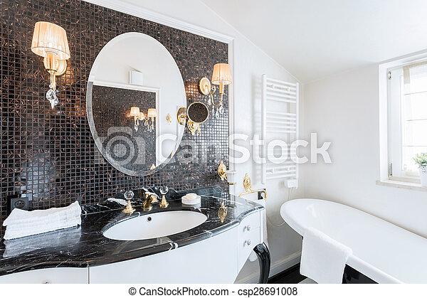 Wohnsitz, barock, badezimmer. Schöne , wohnsitz, badezimmer, barock.