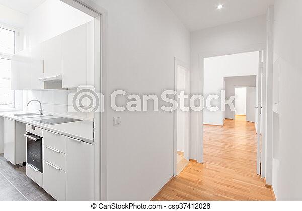 Fußboden Für Wohnung ~ Wohnung boden hölzern weißes leerer kueche