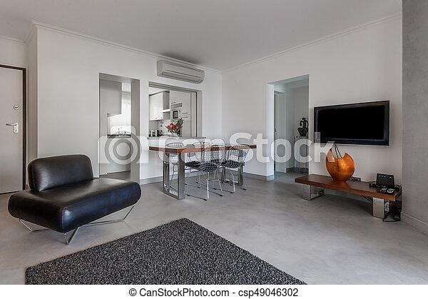 Wohnung, Boden, Licht, Modern, Grau, Wände, Weißes   Csp49046302