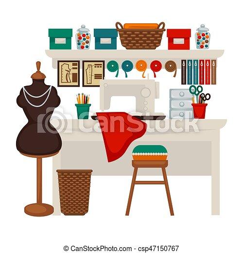 Wohnung Bunte Atelier Abbildung Vektor Studio Arbeitsplatz