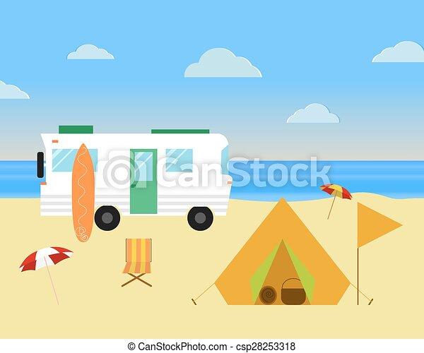vintage camping konzept. retro caravan, wohnmobil, wohnmobil am strand, sommerferien und urlaub