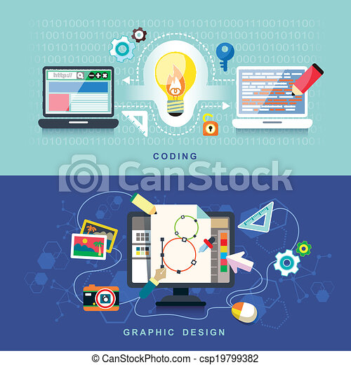 Flat design for graphics design and coding - csp19799382
