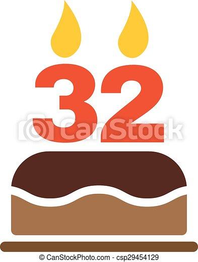 Wohnung Form Kerzen Symbol Zahl Geburstag 32 Kuchen Icon