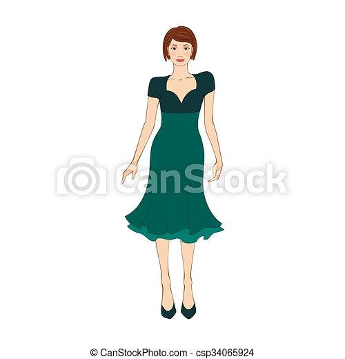 reputable site 4bb6e ce107 wohnung, frau, elegant, grünes kleid, ikone
