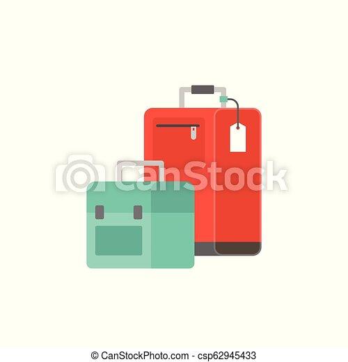 wohnung, gepäck, abbildung, tasche, vektor, design, ikone - csp62945433