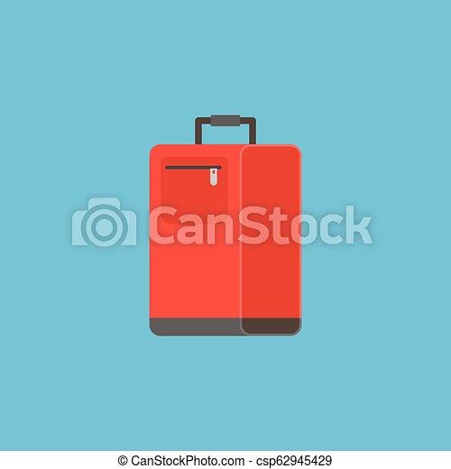 wohnung, gepäck, abbildung, tasche, vektor, design, ikone - csp62945429