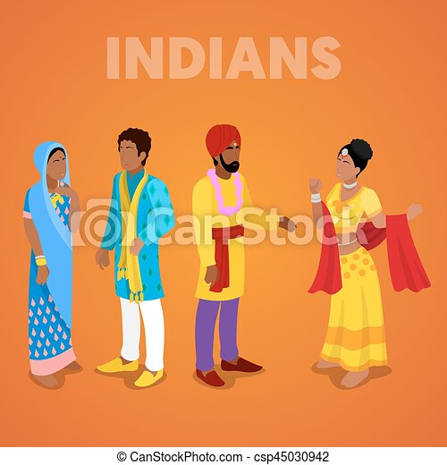 Isomerische Indianer in traditionellen Kleidern. Vector 3d flache Illustration - csp45030942