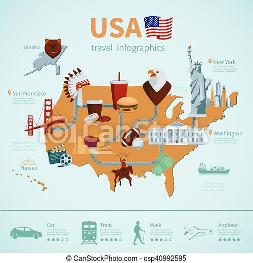 Usa flachlandkarte infographics. Usa flat map travel ...