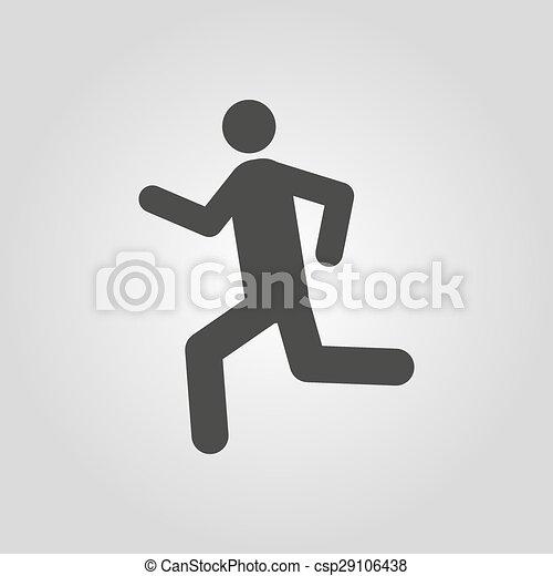 wohnung, laufen, symbol., rennender , icon., mann - csp29106438